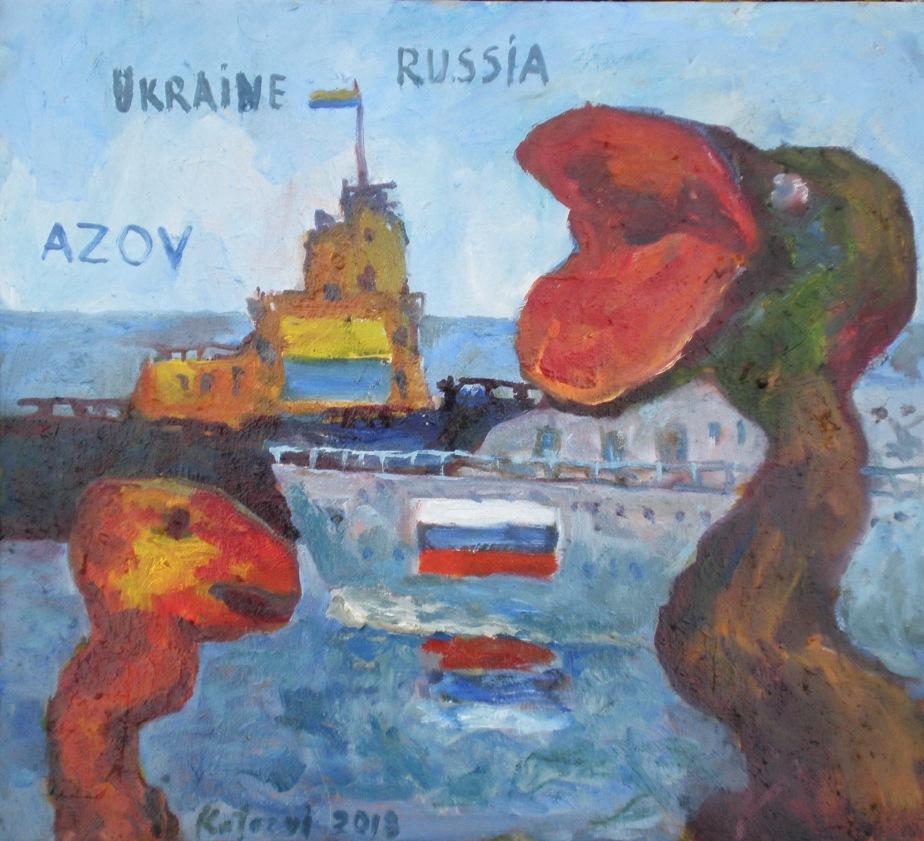 """""""Сварка на Азові"""" полотно, олія, 45х50 2018"""
